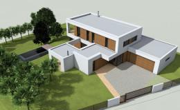 02_moderni dum s plochou strechou a velkou garazi